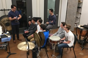 Percussionists work with Mr. Erik Lynch
