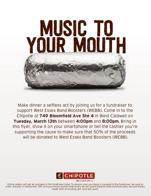 Chipotle Flyer - West Essex Band - March 13