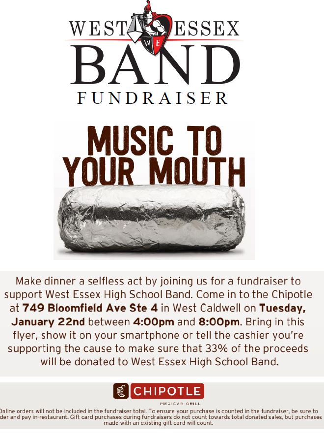 Chipotle Flyer - West Essex Band - January 22, 2019