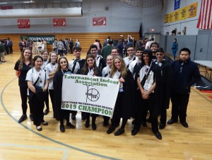Indoor Percussion Ensemble receives 1st Place Banner at TIA Indoor Championships