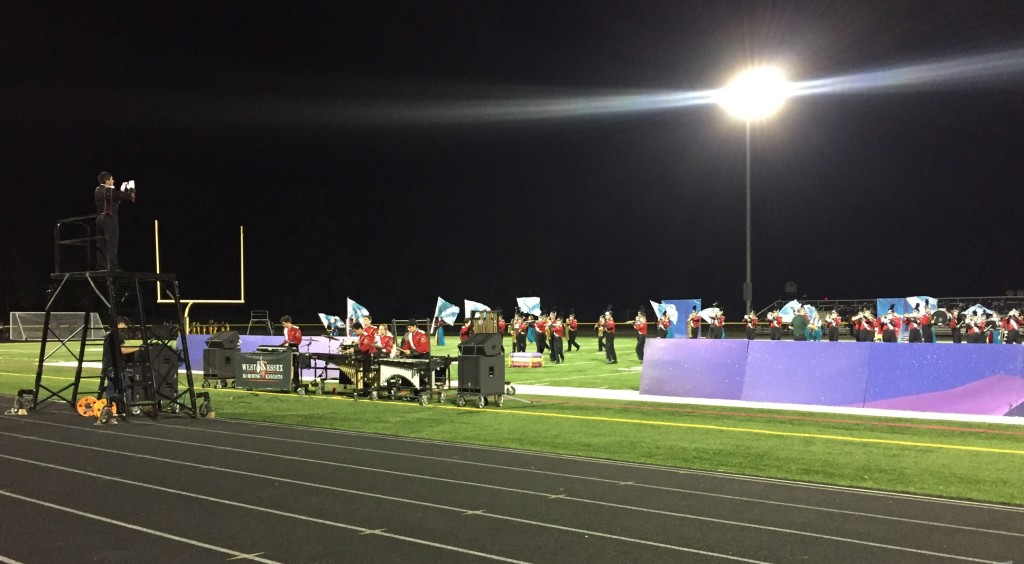Marching Knights under the lights at Hanover Park Competition