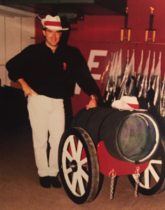 Darryl Bott and his hand-built cannon for the 1987 Marching Knights finale, 1812 Overture